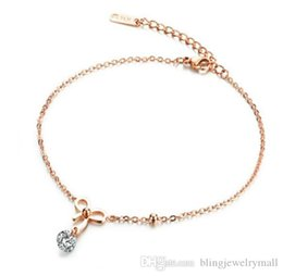 stainless steel anklets Canada - Romantic Charm Rose Gold Color Stainless Steel Bowknot Anklets Foot Jewelry For Women Lady Best Birthday Gift