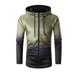 Wholesale Mens Zipper Hoodies Australia - Feitong Mens Causal Zipper Hoodies Causal Packwork Graduated Long Sleeve Hooded Tops Sweatshirts sudaderas para hombre 2018 New