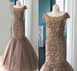 $enCountryForm.capitalKeyWord Australia - Luxury Champagne Beading Crystal Formal Evening Dresses Mermaid Scoop Short Sleeve Tulle Sparkly Prom Pageant Dress Special Occasion Women