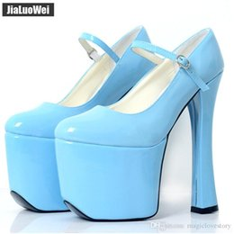 platform thick high heel gold shoes 2019 - 2019 NEW Women High heels buckles with 20cm chunky heel platform pumps Men Cosplay shoes Dance for stage Thick sole Blue