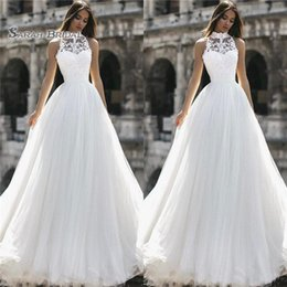 Modest high collared wedding dress online shopping - 2019 Vintage A Line Wedding Dress Sleeveless High Neck Lace Modest Design Long Bridal Gown Custom Made