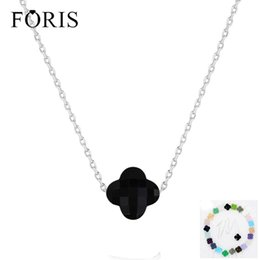 $enCountryForm.capitalKeyWord NZ - Foris 11 Colors Brand Jewelry 925 Sterling Silver Luckly Clover Crystal Necklace For Women Christmas Gift Best Selling Pn001 Y19050901