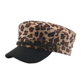 6bafd569729 Beret Femme Women s Leopard Print Beret Hat Casual Retro Flat Top Navy Cap  Berets Caps For Women Femme Hiver 2018 Y30