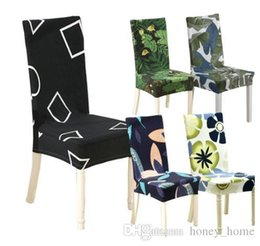 $enCountryForm.capitalKeyWord Australia - Floral Geometric Print Pattern Spandex Elastic Stretch Slipcovers Dining Chair Cover Hotel Kitchen Seat Cover for Banquet