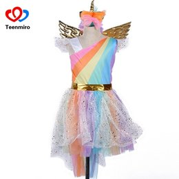 $enCountryForm.capitalKeyWord Australia - Kids Rainbow Unicorn Dress For Girls Cosplay Prom Costume Children Princess Lace Dresses Hair Hoop Wing Set Halloween Party Tutu J190705