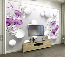Calla Lily Paintings Australia - 3d Wallpape Beautiful Hand-Painted Purple Calla Lily Living Room Bedroom Background Wall Decoration Mural Wallpaper