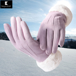 Suede glove men online shopping - Women Winter Cycling Ski Gloves Heated Touch Screen Autumn Winter Suede Thickening Warm Outdoor Riding driving Gloves One Size