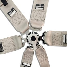 Point Harnesses Australia - Hot sale New 1 pcs 3'' 6-Point Seat Belts with logo Competition Snap-In seat Belt Racing Harness safety belt silver SP01
