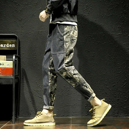 camouflaged trousers NZ - Pop2019 Spring Pattern Tide Male Cool Time Jeans Camouflage Split Joint Overalls Korean Youth Close Trousers Will Code