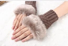 $enCountryForm.capitalKeyWord NZ - Winter Gloves Female Fingerless Gloves Without Fingers Pompom Faux Fur Wrist Mittens Knit Patchwork Guantes Plush Handschoenen