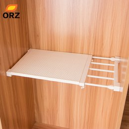 bathroom cabinet shelves UK - ORZ Retractable Closet Organizer Shelf Adjustable Kitchen Cabinet Storage Holder Cupboard Rack Wardrobe Organizer Bathroom Shelf Y200429