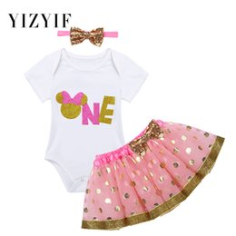 baby girls 1st birthday tutus 2019 - YiZYiF Infant Baby Girls Birthday Outfits Cartoon Pattern Number One Printed 1ST Birthday Romper with Tutu Skirt Headban