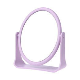 Mirrored Side Tables Wholesale Australia - 2 Sides Rotatable Stand Table Makeup Mirror Beauty Round Wheat Straw Mirror 18x15cm