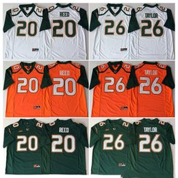 Discount ed reed miami jersey - NCAA Mens 2018 Miami Hurricanes Green Orange White #20 Ed REED #26 Sean TAYLOR College Football Jerseys good quality fre