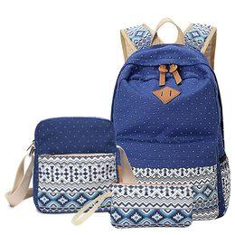 $enCountryForm.capitalKeyWord Australia - 3 Pcs set Polka Dot Printing Women Backpack Cute Lightweight Canvas Bookbags Middle High School Bags For Teenage Girls