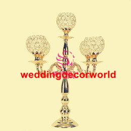 Decor Parties Australia - New styleGold Flower Vases Candle Holders Stand Wedding Decor Road Lead Table Centerpiece Rack Pillar Party Candlestick Candelabra decor0802
