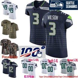 4f55b5da0a2 100th anniversary custom Men youth women Seattle Shaquem Griffin Russell  Wilson Michael Dickson Shaquill Camo Seahawks Elite Jersey