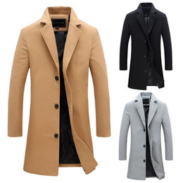 abrigo de lana de los hombres  al por mayor-Fashion Men s Wool Coat Winter Color Sólido Color Largo Trench Jacket Masculino Single Breasted Business Casual Outcoat Parka Tamaño M XL