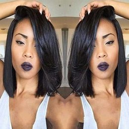 style for long black hair Australia - Short Brazilian Hair Wigs For Black Women Natural Color Silk Straight Human Hair Wigs Bob Style Glueless Full Lace Wig With Baby Hair