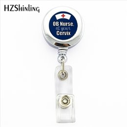 Wholesale 2019 New Obstetrics Nursing Badge Holder OB Nurse ID Holder Doctor Bagde Reel Nurse Logo Photo ID Badge Holder