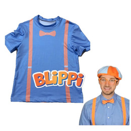 $enCountryForm.capitalKeyWord Australia - Kids TV Blippi T Shirt Cosplay Tee Short Sleeve Children T-Shirt Tops Blouse Costume Blue Tees T Shirts