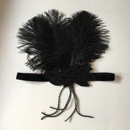 $enCountryForm.capitalKeyWord NZ - Black Ostrich Feather Flapper Headband Boho Charcoal Crystal & Beaded Tassel Stretch Hair Band T-stage Indian Flapper Hair Accessories