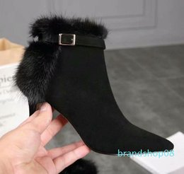 knight hair Australia - Hot Sale-Brand New Womens High Heel 7.5CM Snow Winter Ankle Cashmere Mink Hair Real Leather Booties SZ35-39