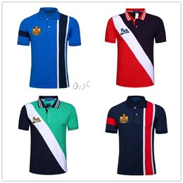 Wholesale horse tee shirts for sale – custom Brand Striped Polo Shirt for Men American Fashion Short Sleeve Cotton Sport Business Ralph Polos Big Horse Printed Tennis Tees White Black
