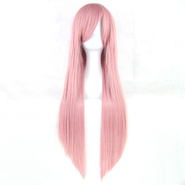 Long Light bLue cospLay wig online shopping - Long Straight Women Party Blonde Pink High Temperature Heat Resistant Synthetic Hair Cosplay Wig Hairpiece Colors