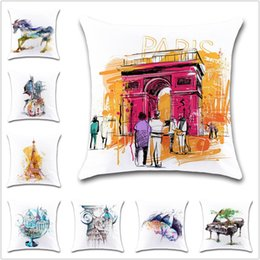 car seat cushions purple 2019 - Creative city view art pattern Cushion Cover Decoration coffee chair Home sofa car seat friend children bedroom gift pil