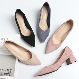 wide pointed toe flats Australia - Office Career Shoes Woman 2020 Slip On Square High Heels Ladies Flock Solid Point Toe Casual Heels Female Sandals Women Pumps
