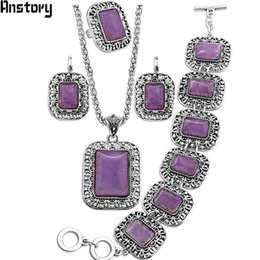$enCountryForm.capitalKeyWord Australia - tone jewelry sets Natural Purple Stone Jewelry Sets Flower Pendant Necklace Bracelet Earrings Ring Set For Women Antique Silver Plated Pa...