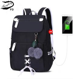$enCountryForm.capitalKeyWord Australia - Fengdong Kids School Backpack For Girls School Bags Women Shoulder Bag Fur Ball Bowknot Backpacks For Teenage Girls Dropshipping J190627