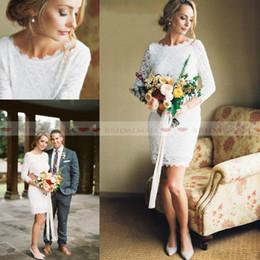 2af31aa2cfef Mini dress backless online shopping - 2019 Elegant Long Sleeves Plus Size  Short Wedding Dresses Full