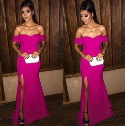 $enCountryForm.capitalKeyWord UK - 2019 Hot Pink Prom Dresses Off The Shoulder Side Split Mermaid Bridesmaid Dress Floor Length Cheap Cocktail Party Gowns robes de soiree