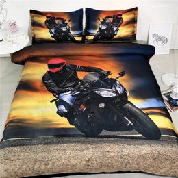 full bedding for boys UK - Motorcycle Bedding For Boys Duvet Cover Orange And Navy Blue Queen Yellow Bedspread King 3pc Pillowshams NO Quilt