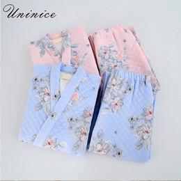 136c934824 Japanese Yukata Winter Warm Robes Pajamas Tops Pants Sets Kimono Suits  Thickening Cotton Bathrobe Pyjamas Sleepwear Home Leisure
