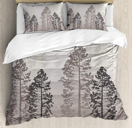 cotton queen bedding set 2020 - Country Duvet Cover Set Queen Size Pine Trees in The Forest Foggy Seem Ombre Backdrop Wildlife Adventure Artwork Bedding