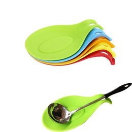 kitchen spoon holders 2019 - wholesale Durable Small Silicone Spoon Rest Heat Resistant Non-stick Silicone Cooking Tools Mat Kitchen Storage Holders