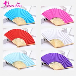 $enCountryForm.capitalKeyWord Australia - 100pcs Wedding Paper Fan Guest Gift Personalized Folding Hand Fan Bamboo Baby Shower Party Favors Fans With Logo