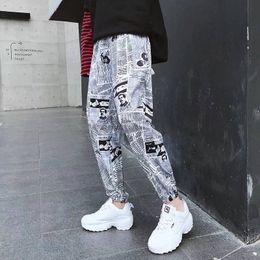 Discount graphic print joggers men - 2019 Hip Hop Pants Graphic Print Pencil Pants Men Elastic Waist Track Trousers Mens Womens Fashion Joggers Sweatpants