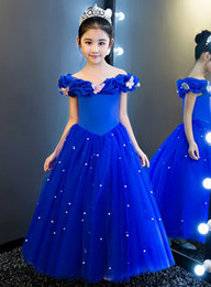 $enCountryForm.capitalKeyWord Australia - Cinderella Butterfly Girls Pageant Dresses Off Shoulder Crystal Royal Blue Tulle Piping Flower Girl Dresses For Wedding Kids Prom Dress