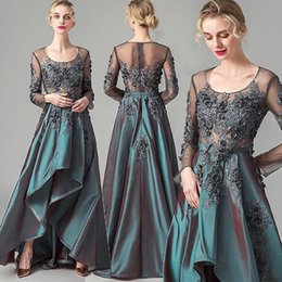 $enCountryForm.capitalKeyWord NZ - Elegant Hunter Green Taffeta Formal Prom Dresses For Arabic Women Sheer Long Sleeves Lace Appliques Plus Size 2019 Formal Evening Wears