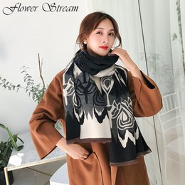 literary scarf NZ - Vintage Literary National Style Scarf Shawl New Female Autumn and Winter Models Thick Double-sided Imitation Cashmere Scarf