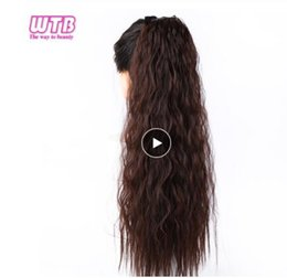 auburn ponytails Australia - 22inches Long Corn Curly Fake Hair Pieces Drawstring Ponytail Extensions for Women Synthetic High Temperature Fiber Clip in Hair Extensions