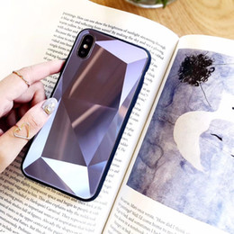3d iphone case gold online shopping - 3D Diamond Pattern Phone Case For Iphone X XR XS MAX Tempered Glass Case For Iphone Plus