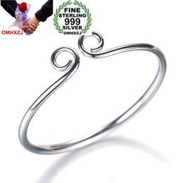 $enCountryForm.capitalKeyWord NZ - OMHXZJ Wholesale Fashion Woman Child Couple Gift Monkey Tighten Mantra Hoop 999 Sterling Silver Bracelet Bangle Adjustable SZ56