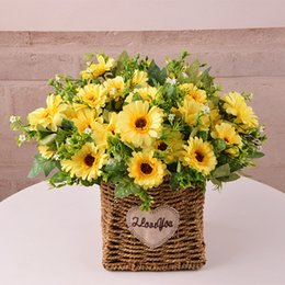 $enCountryForm.capitalKeyWord Australia - 28cm 1 Bunch 7 Heads Sunflower Silk Artificial Flower Bouquet For Home Wedding Decoration Living Room Party Table Window Decor