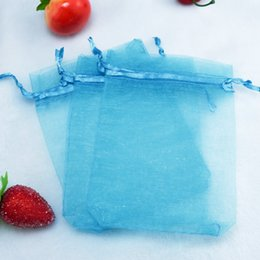 drawable bags blue Australia - Wholesale 200pcs lot,Drawable Lake Blue Small Organza Bags 7x9cm, Favor Wedding Gift Packing Bags,Packaging Jewelry Pouches