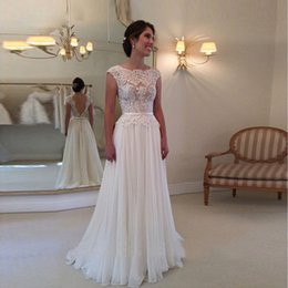 robes soiree muslim Australia - Elegant 2020 A Line Wedding Dresses Robe de Soiree Backless Sleeveless Lace Appliqued Chiffon Bridal Gown